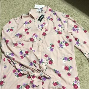 Pink Floral Express button down shirt I size L